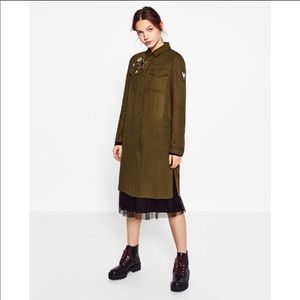 Zara | Olive Green Patch Trench Duster Jacket